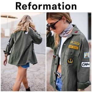 Reformation army patchwork jacket XS